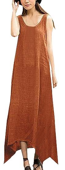 Sommer Damen Lange Kleid Freizeit Locker Ärmellos Leinen Kleider  Strandkleider Blusenkleider Mode Saum Irregulär Shirt Kleider d55c4fc843