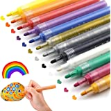 Acrylic Paint Pens for Rocks Painting, Ceramic, Glass, Wood, Fabric, Canvas, Mugs, DIY Craft Making Suppliesg, Gift Card Making. Acrylic Paint Marker Pens Permanent. 12 Colors/Set