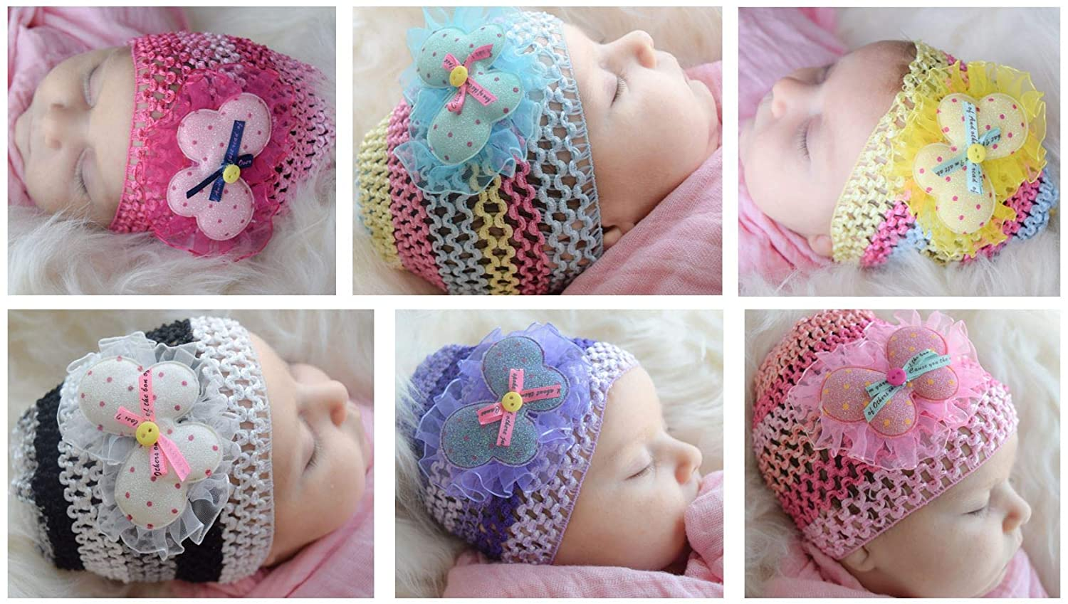 e9756f5b39f Amazon.com  Newborn Baby Girl Hats with Butterflies (6 Pack) Crochet Infant  Beanie Caps  Clothing