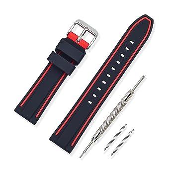 Vinband Bracelet Montre Haute Qualité Remplacer Silicone Bracelet Montre  Bicouche Bicolore , 20mm, 22mm,