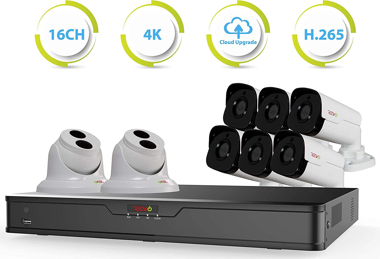 Revo America Ultra 16 Ch. 3TB HDD IP NVR Video Surveillance System, 6 x 4MP IP Bullet 2 x 4MP IP Turret Cameras – Remote Access via Smart Phone, Tablet, PC MAC