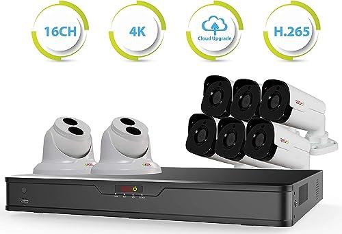 Revo America Ultra 16 Ch. 3TB HDD IP NVR Video Surveillance System, 6 x 4MP IP Bullet 2 x 4MP IP Turret Cameras – Remote Access via Smart Phone, Tablet, PC MAC