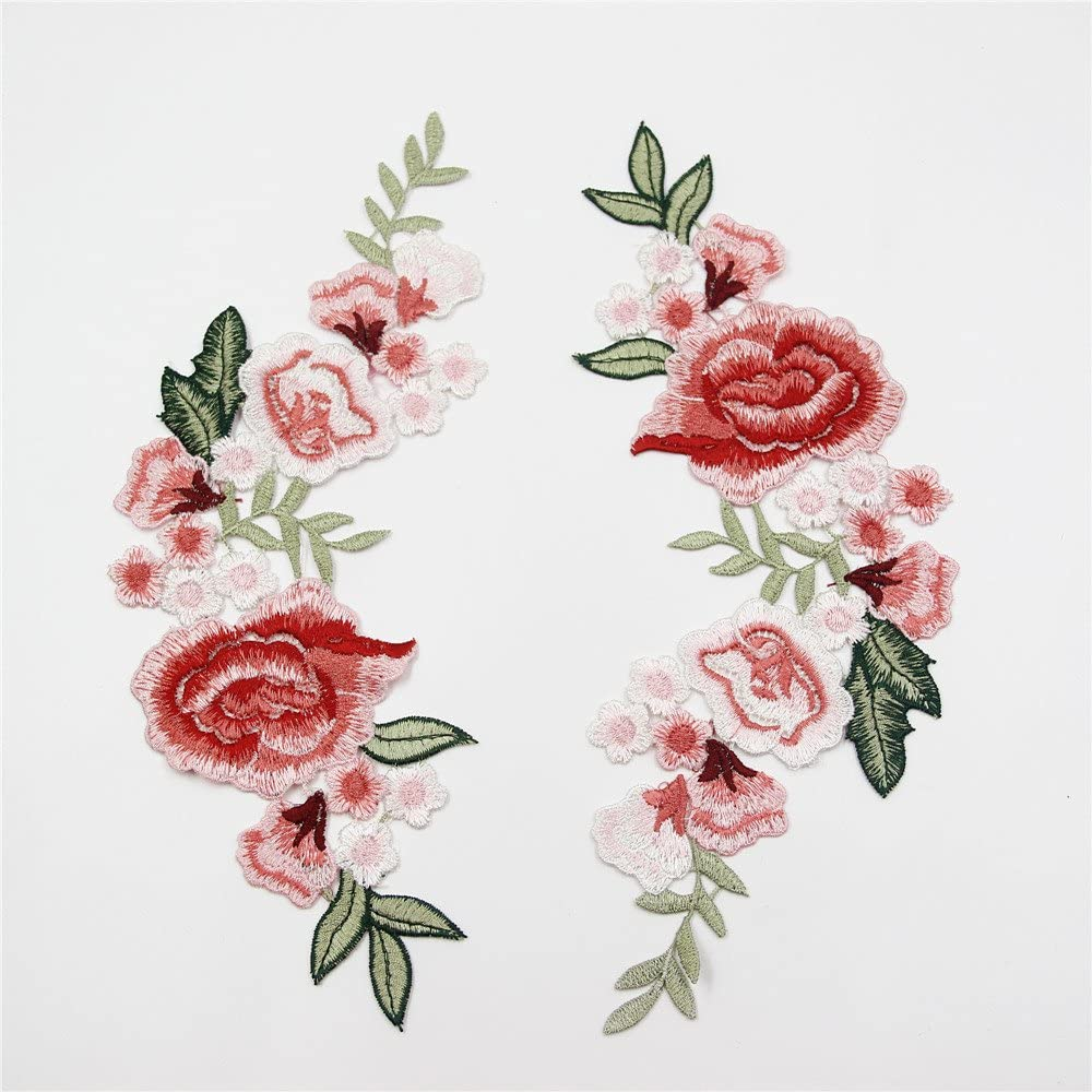 GB431 Embroidered Appliques Pink Mirror Pair Floral Patch 9.75/""