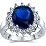 Bling Jewelry 5CT Royal Blue Oval Cubic Zirconia Simulated Sapphire CZ Crown Halo Engagement for Women Thin Band Silver Plate