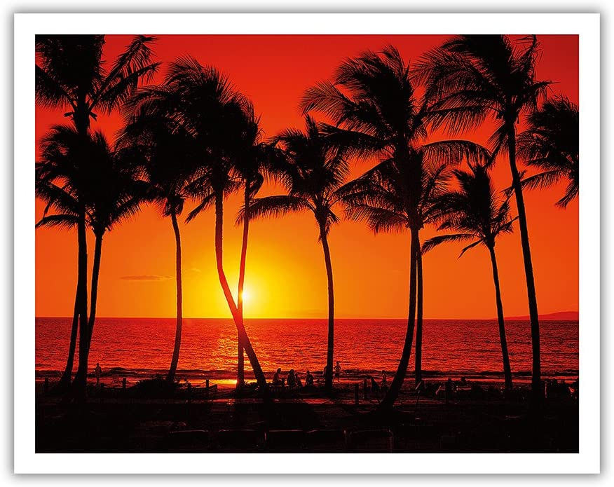 Pacifica Island Art Red Hawaiian Sunset - From an Original Color Photograph by Randy Jay Braun - Hawaiian Fine Art Print - 11in x 14in