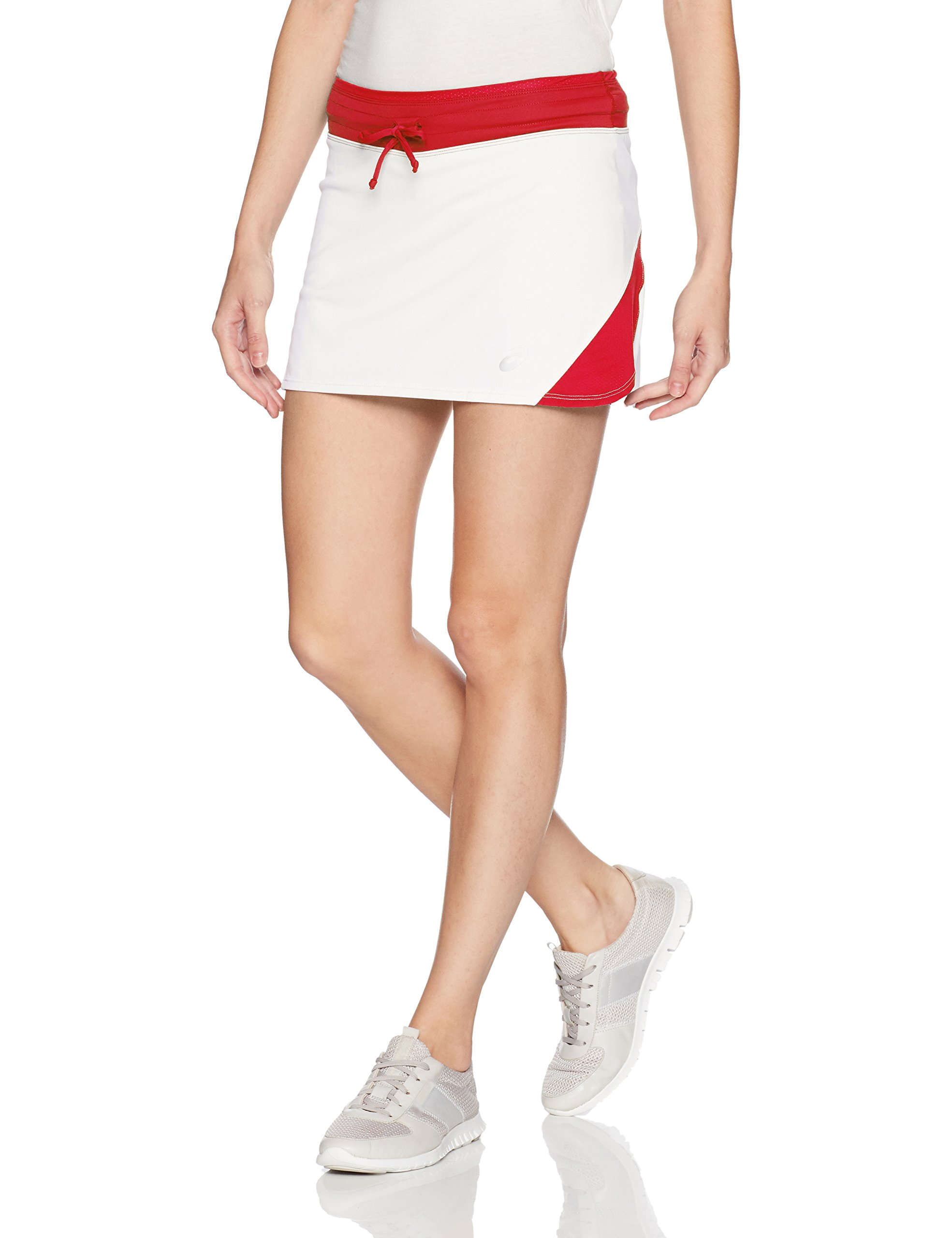 ASICS Women's Spin Slice Skort, White/Red, Small