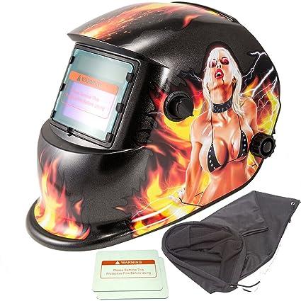 iMeshbean Pro Cool energía Solar Auto oscurecimiento soldadura casco con función de molienda adicional y 2
