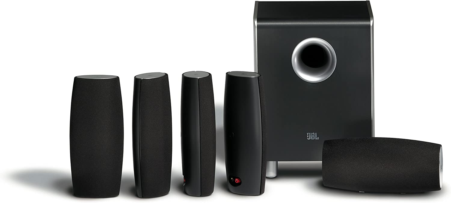 JBL CS6100BG High-Performance Complete 6-Piece Home Theater Speaker System with Brackets (Black Gloss)