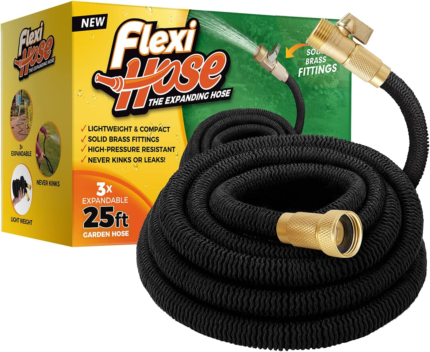 Flexi Hose Lightweight Expandable Garden Hose, No-Kink Flexibility, 3/4 Inch Solid Brass Fittings and Double Latex Core (25 FT, Black)