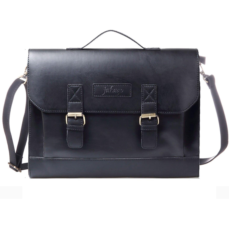 JAKAGO Retro Briefcase Leather Satchel Messenger Shoulder Bag Laptop Bag Handbag for Men and Women (Black) JKG-YZ8103-UK-B