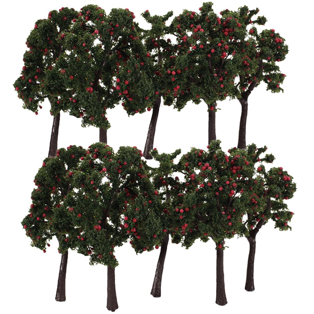 Scenario 10pcs Modello Paesaggio Decorazione Alberi Da Frutto Rosso 12 Centimetri Generic