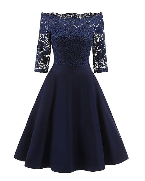 67d2108b8b9f7 GAMISS Women's Vintage Off Shoulder Cocktail Dress Plus Size Floral Lace  3/4 Sleeves Wedding Dress S-5XL
