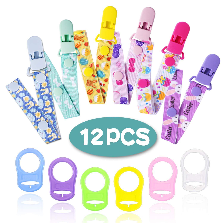 12 Chupetes de Clip Bebé con Anillo de Silicona Adaptador, Cadenas para Chupetes Chupetero Bebé Clips con Adorable Diseño, Unisex Dseño para Chicos y ...