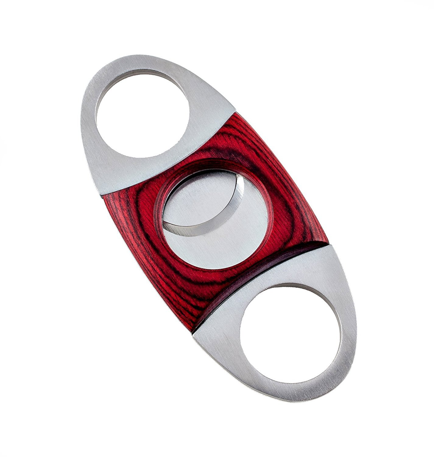 PremiaCasa Stainless Steel Red Wood Guillotine Cigar Cutter