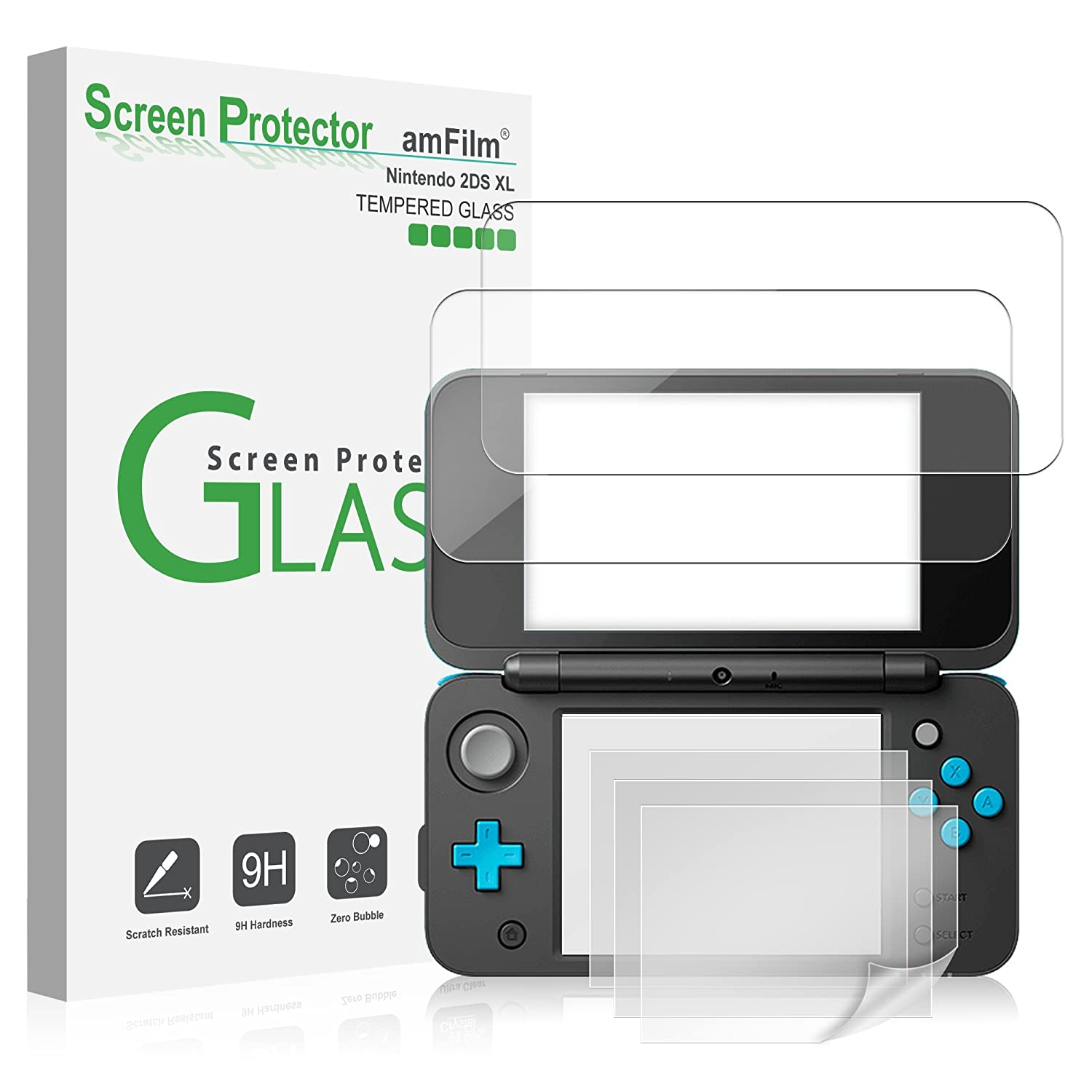 Amazon.com: Nintendo 2DS XL Screen Protector Pack, amFilm [2 ...