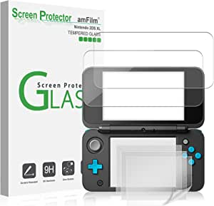 amFilm Nintendo 2DS XL Screen Protector Pack, [2 Glass Top, 4 PET Bottom] Screen Protectors Nintendo 2DS XL 2017 (6 Protectors in Package)