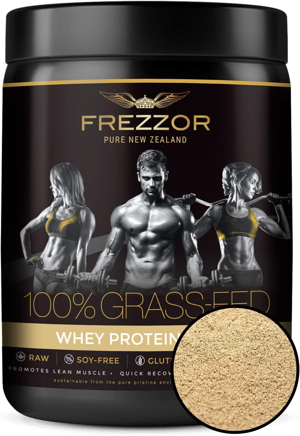 FREZZOR 100% Grass-Fed Whey Protein Shake, Made in New Zealand, Vanilla Custard, Keto Friendly, 24 Superfoods, 29g Protein, 22g BCAAs, GMO-Free, rBGH-Free, No Added Sugar, No Preservatives, 600 Grams
