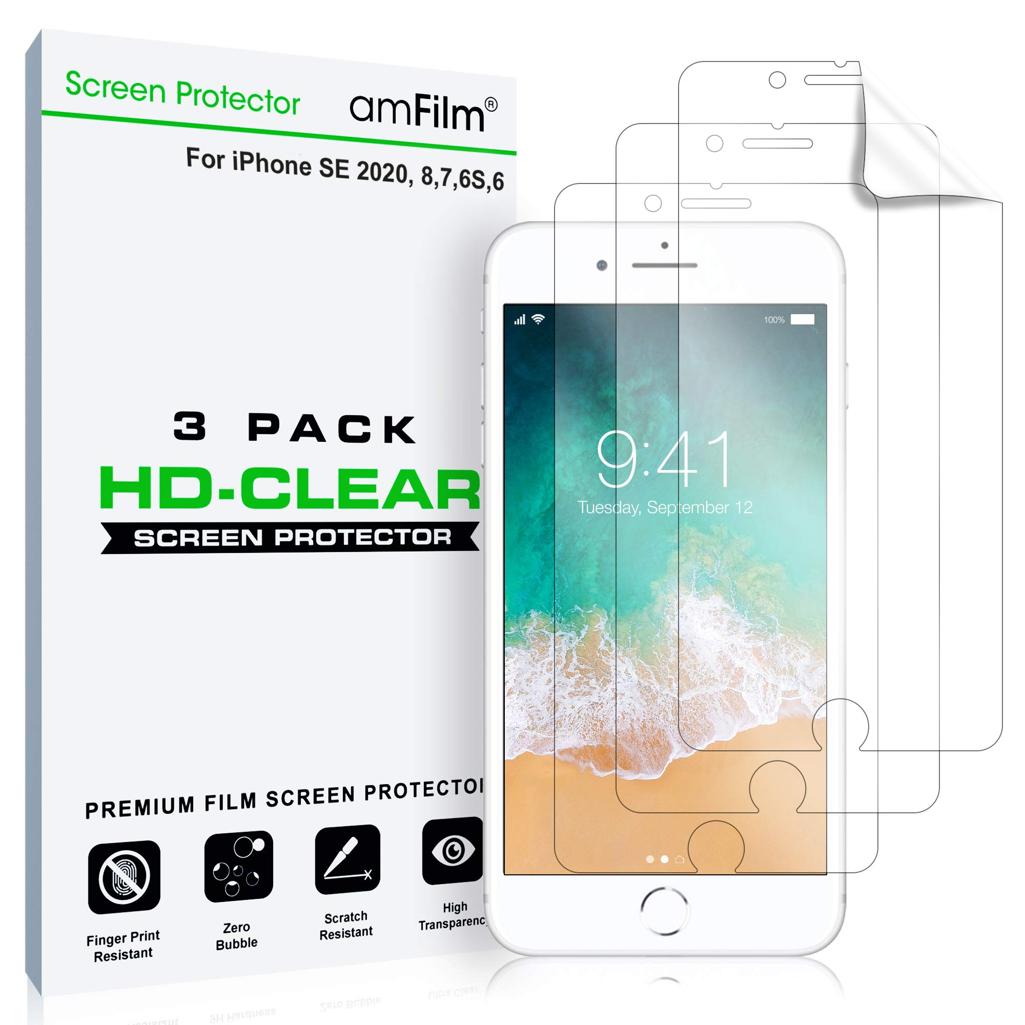 amFilm Screen Protector for iPhone SE (2020), 8, 7, 6S, 6 (3 Pack) HD Clear, Flex Film, Case Friendly