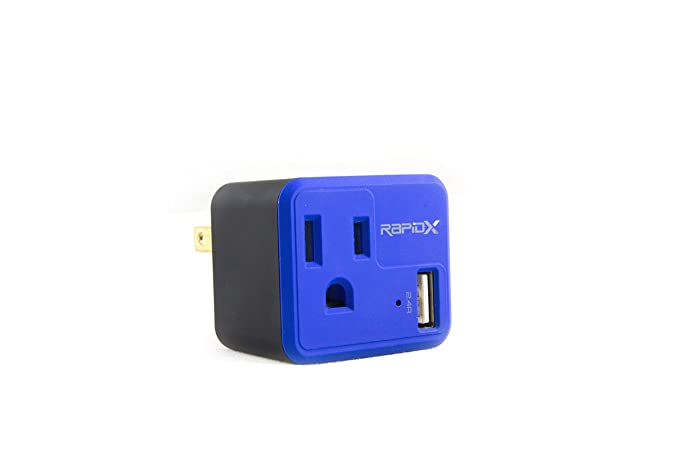 Cable Wall Outlet : Amazon.com: powx wall outlet with usb charger by rapidx blue: cell