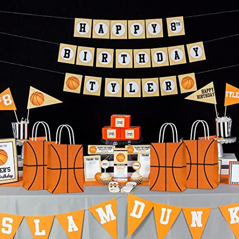 Basketball gift bags-candy party bags-digital-printed-basketball party bags-sports party bags-basketball candy bags-basketball decor