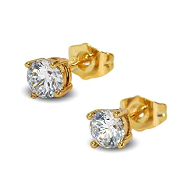 Blue Diamond Club - 18ct Gold Filled Womens Stud Earrings 6mm Sparkling White Crystals 4 Claws cY6ojQw