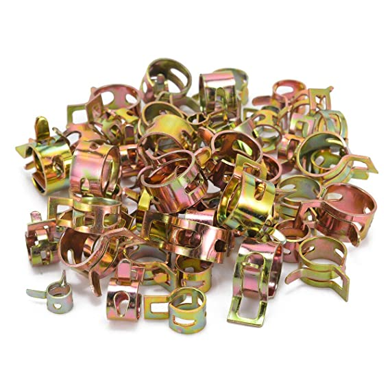 redcolourful 60Pcs Car Auto Spring Clip Fuel Oil Water Hose Pipe Tube Clamp Fastener 6 Sizes for home