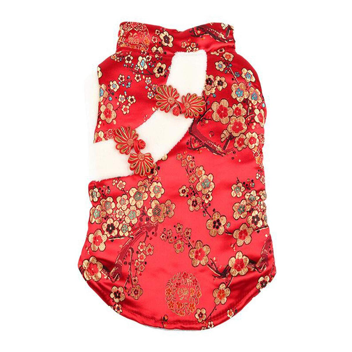 Red XS Red XS Dog Clothes, Tang Suit Cotton Vest, Teddy Dog Small Dog Autumn and Winter New Year Costume (color   Red, Size   XS)