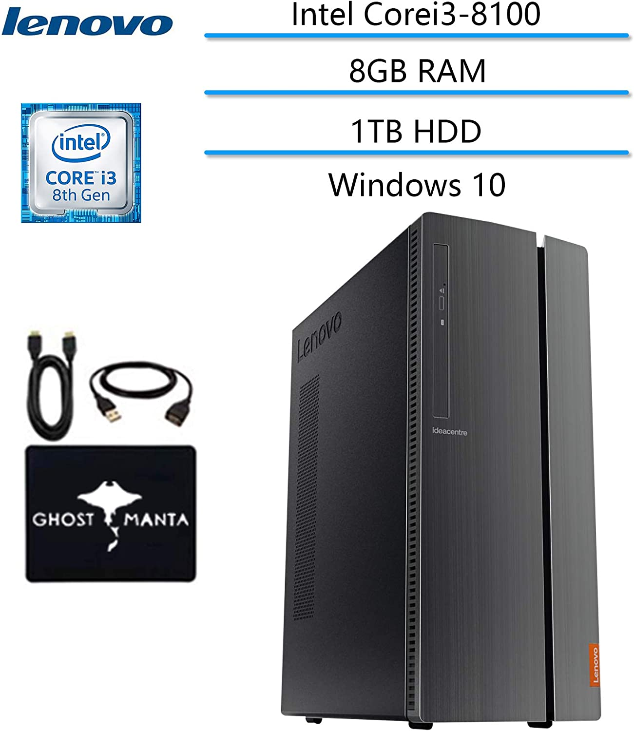 Lenovo ideacentre 510A Business Desktop Newest Computer, Intel Core i3-8100 Processor (6M Cache,3.60 GHz), 8GB RAM 1TB HDD, 7200rpm DVD-RW Win 10 w/Ghost Manta Accessories