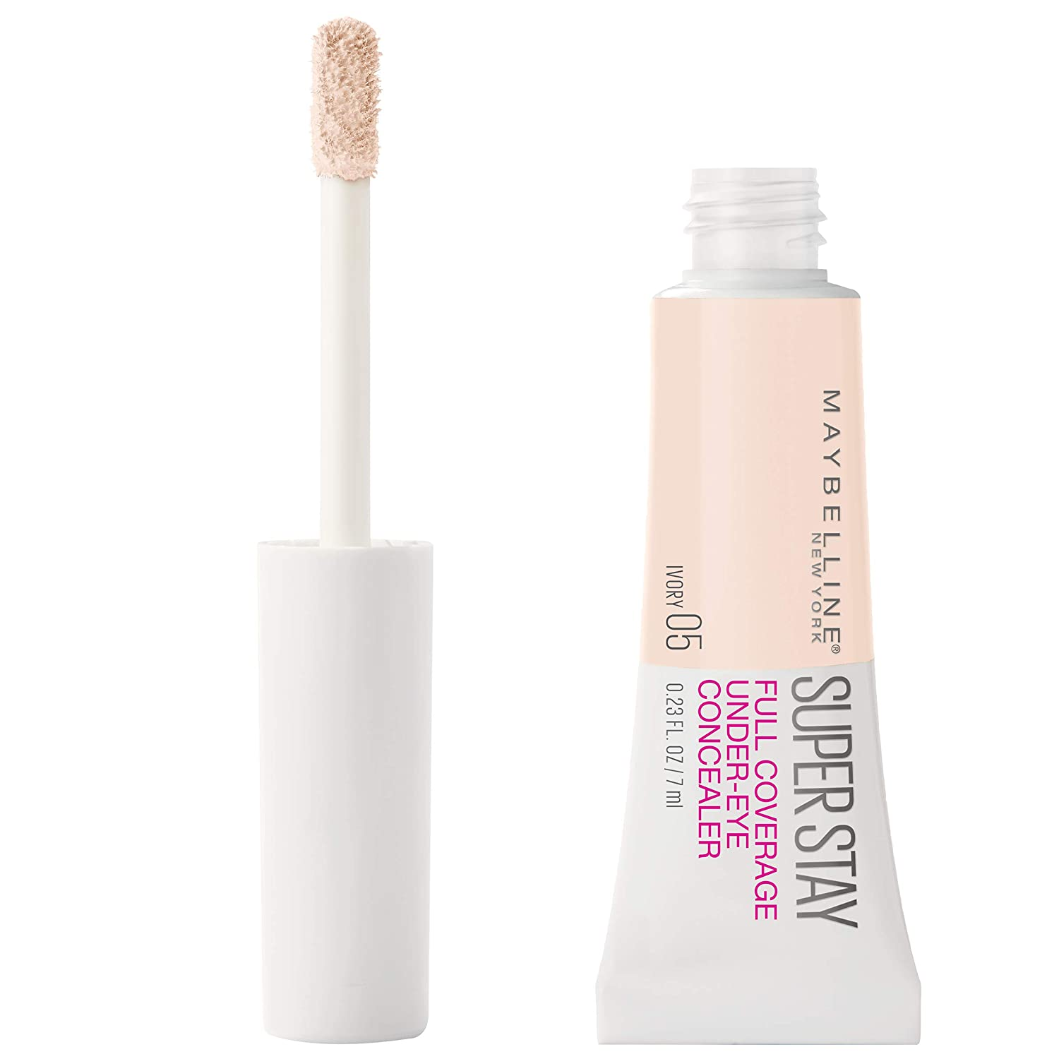 Maybelline New York Super Stay Super Stay Full Coverage, Brightening, Long Lasting, Under-eye Concealer Liquid Makeup For Up To 24H Wear, With Paddle Applicator, 05 Ivory, 0.23 fl. oz.