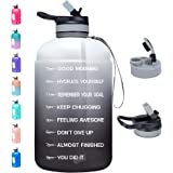 Venture Pal Large 1 Gallon Motivational Water Bottle with 2 Lids (Chug and Straw), Leakproof BPA Free Tritan Sports Water Jug