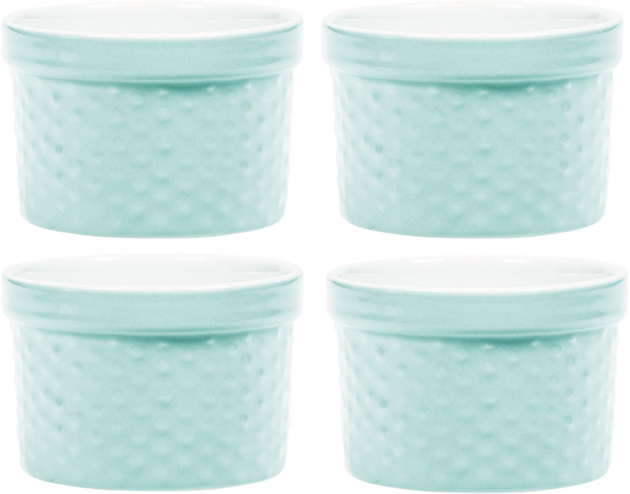 Palais Dinnerware Ramekins Collection Porcelain Soufle Dishes (6 Oz - Set of 4, Light Blue - Dots Finish)