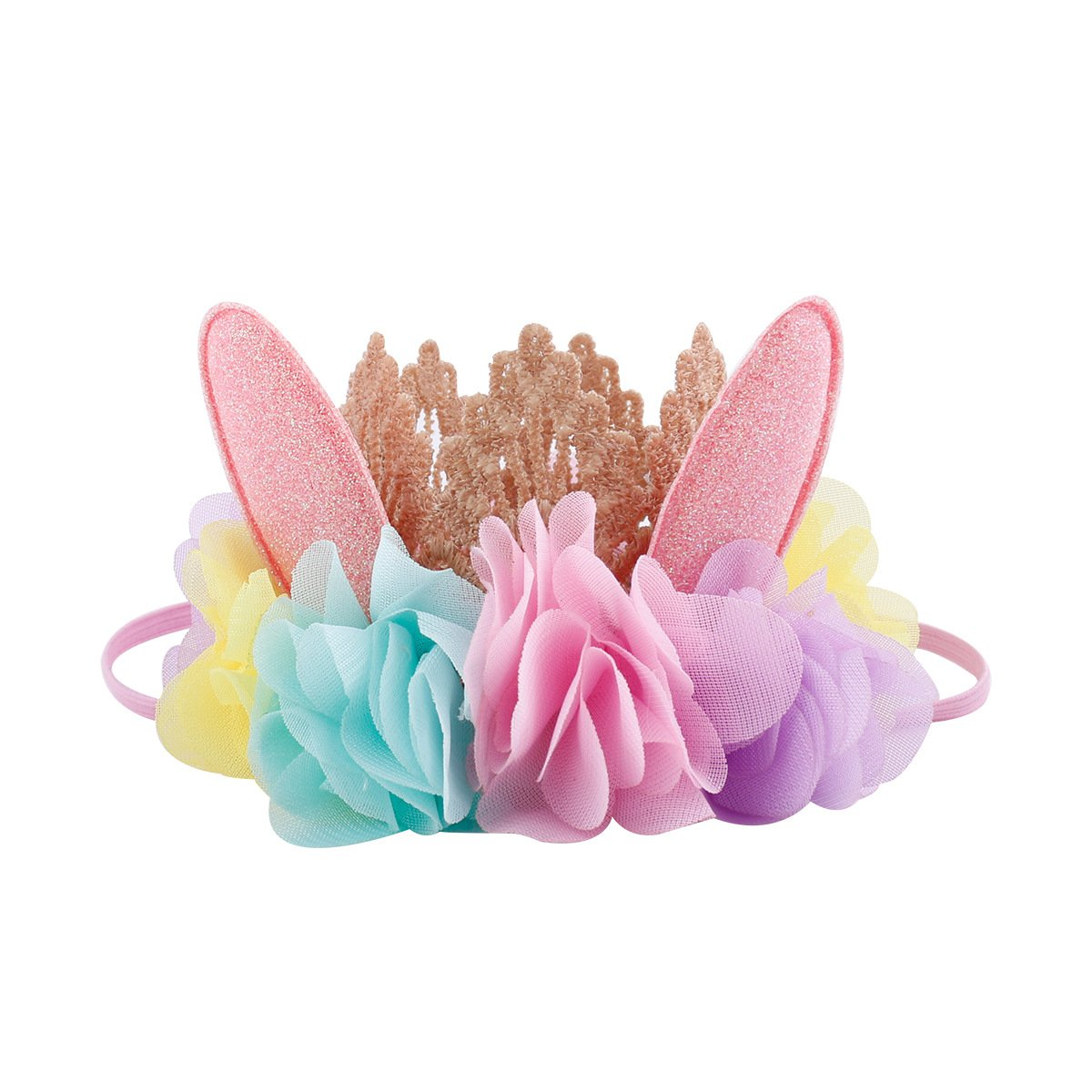 Love Sweety Baby Birthday Golden Lace Crown Rabbit Ear Antler Flower Headband (Rabbit Color) by Love Sweety (Image #1)