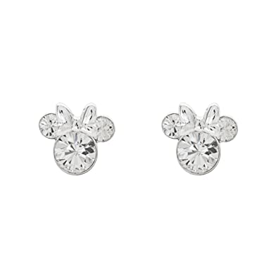e5ce95412 Disney Women's Jewelry Minnie Mouse Silver Plated Brass April Birthstone  Stud Earrings Mickey's 90th Birthday Anniversary