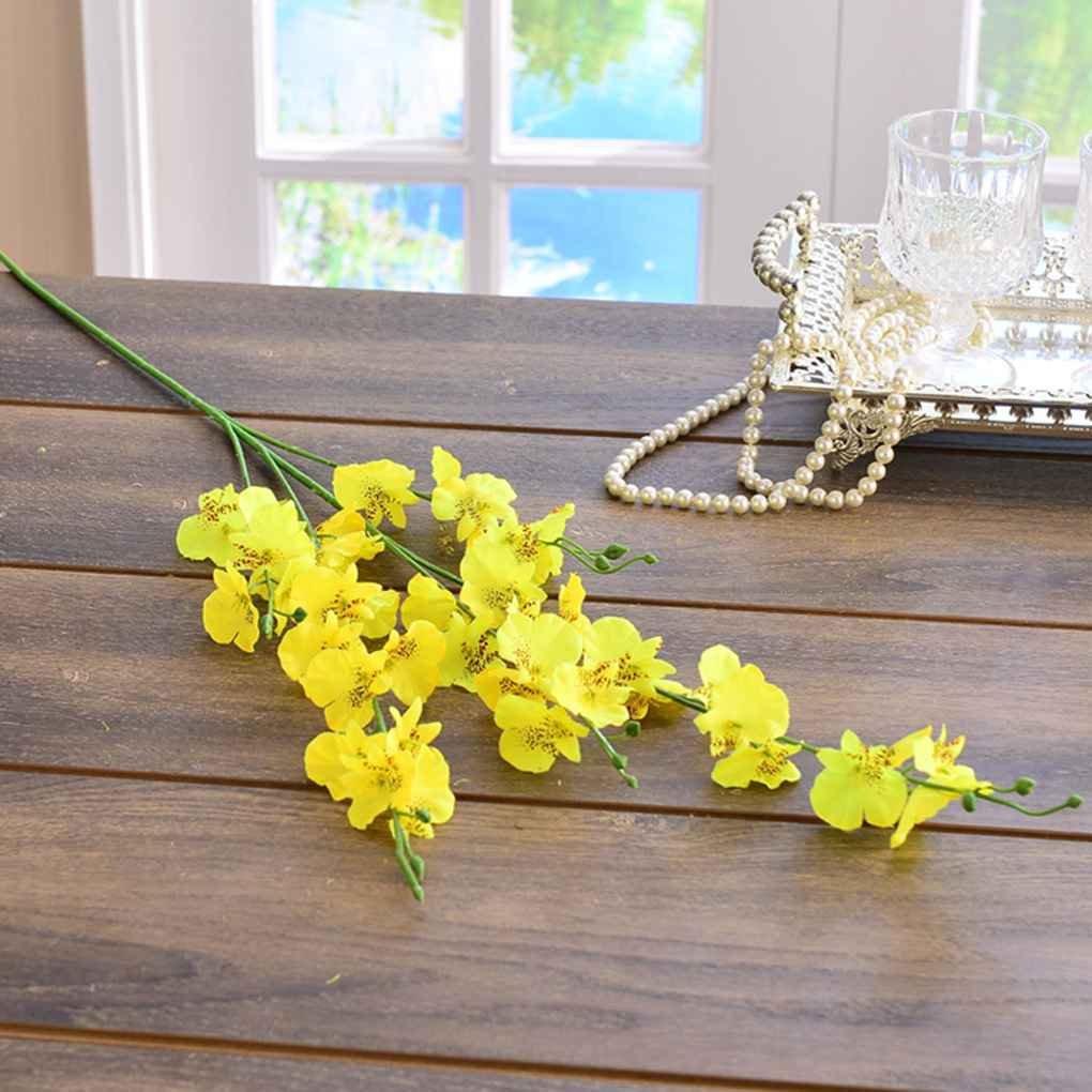 Omkuwl Fleur fausse réaliste artificielle de fleur d'orchidée pour la décoration à la maison de noce blanc