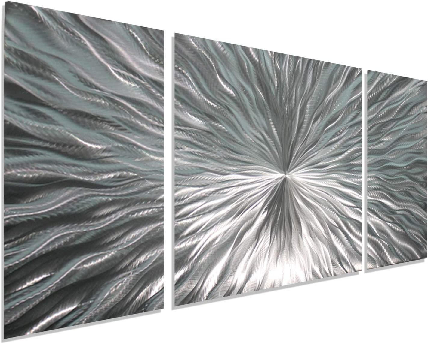Amazon Com Statements2000 Silver Metal Wall Art By Jon Allen Modern Abstract Metal Panel Wall Art Home Decor Home Accent Contemporary Metallic Wall Sculpture Enlivenment Iii 50 X 24 Home