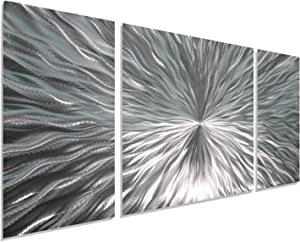 "Statements2000 Silver Metal Wall Art by Jon Allen - Modern Abstract Metal Panel Wall Art - Home Decor, Home Accent, Contemporary Metallic Wall Sculpture, Enlivenment III, 50"" x 24"""
