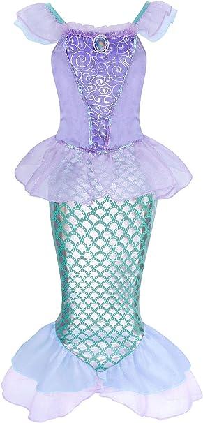 AmzBarle Vestido Disfraz de Sirena Traje para Niña, Disfraz Infantil ...