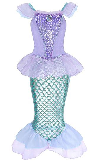 AmzBarle Vestido Disfraz de Sirena Traje para Niña, Disfraz Infantil de Princesa Brillante Larga Manga con Cola de Cosplay Fiesta Halloween Chicas