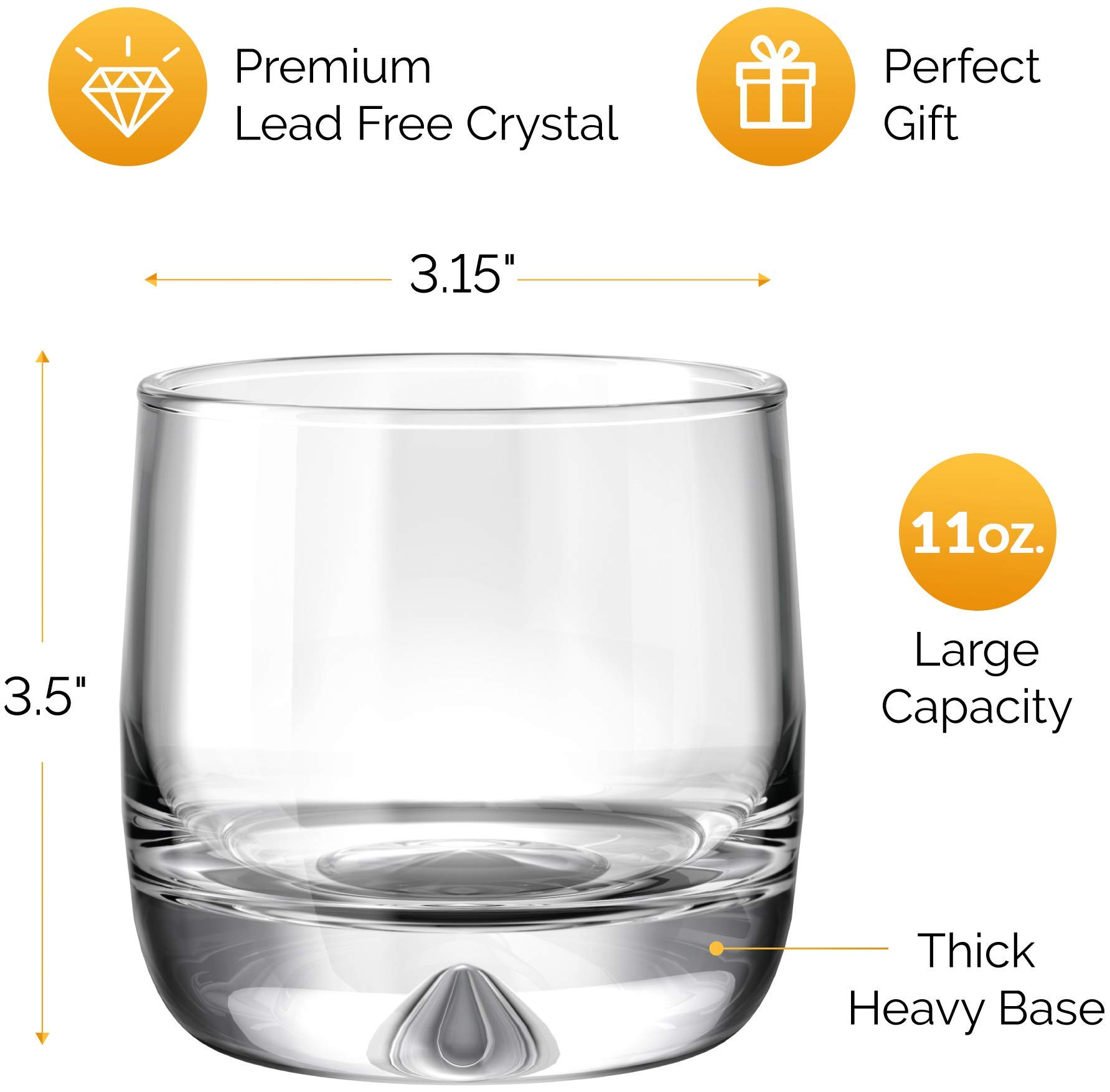 MOFADO Crystal Whiskey Glasses – Trendy/Curved – 11oz (Set of 2) – Hand Blown Crystal – Thick Weighted Bottom Rocks…