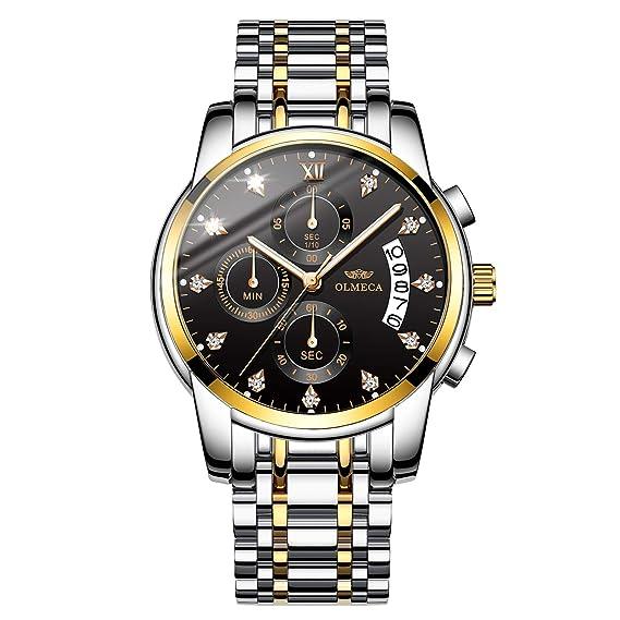 OLMECA Relojes Hombre Moda Reloj de Pulsera de Cuarzo Cronógrafo Impermeable con Cuero, Relojes de Acero Inoxidable para Hombres.