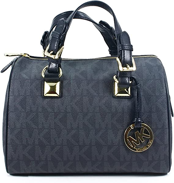 2807e88f4db8 Michael Kors Signature Grayson Black PVC Medium Satchel Bag with Silver  Hardware