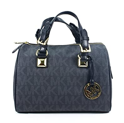 dd800ce646ac00 ... where to buy michael kors signature grayson black pvc medium satchel bag  with silver hardware 46333