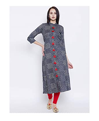 020117bbf0c89 Amazon.com  HIRAL DESIGNER MALL Indian Dresses For Women Kurti Navy Blue  Printed A-Line Kurta  Clothing