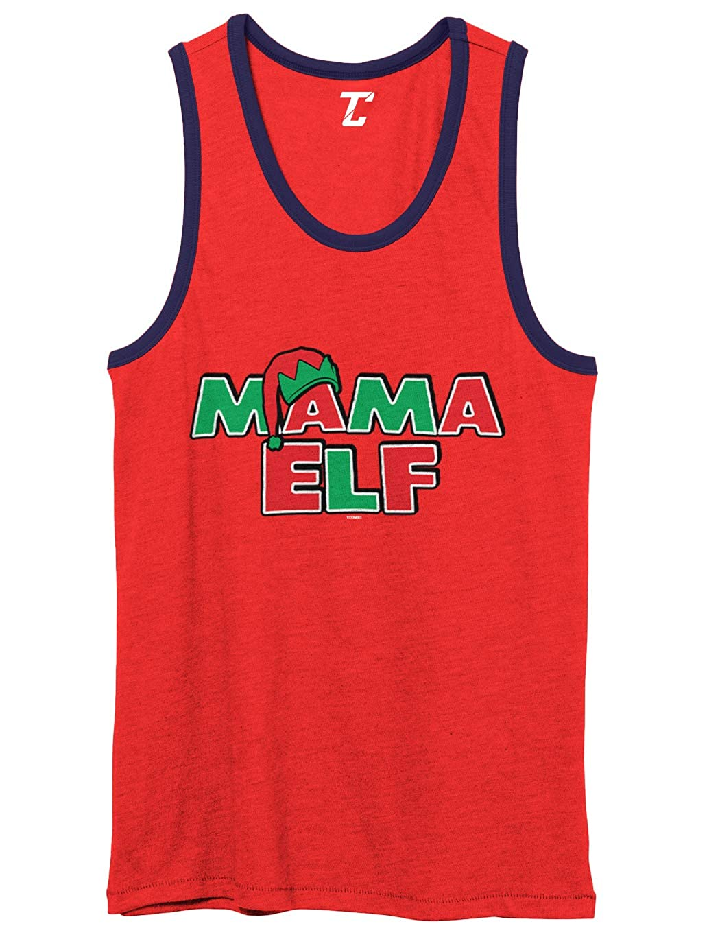 Mama Elf Christmas Xmas Mother Mom Unisex 2-Tone Tank Top