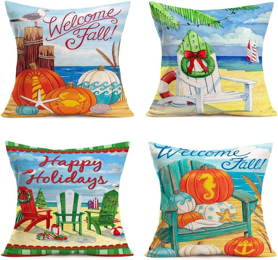"Hopyeer Autumn Harvest MerryChristmas Festival Sofa Bed Decor Throw Pillow Covers Ocean Beach Sea Pumpkin Gulls Xmas Chairs Starfish Seahorse Fall Cotton Linen Cushion Case Cover 18""x18""4Pcs(AM-Blue)"