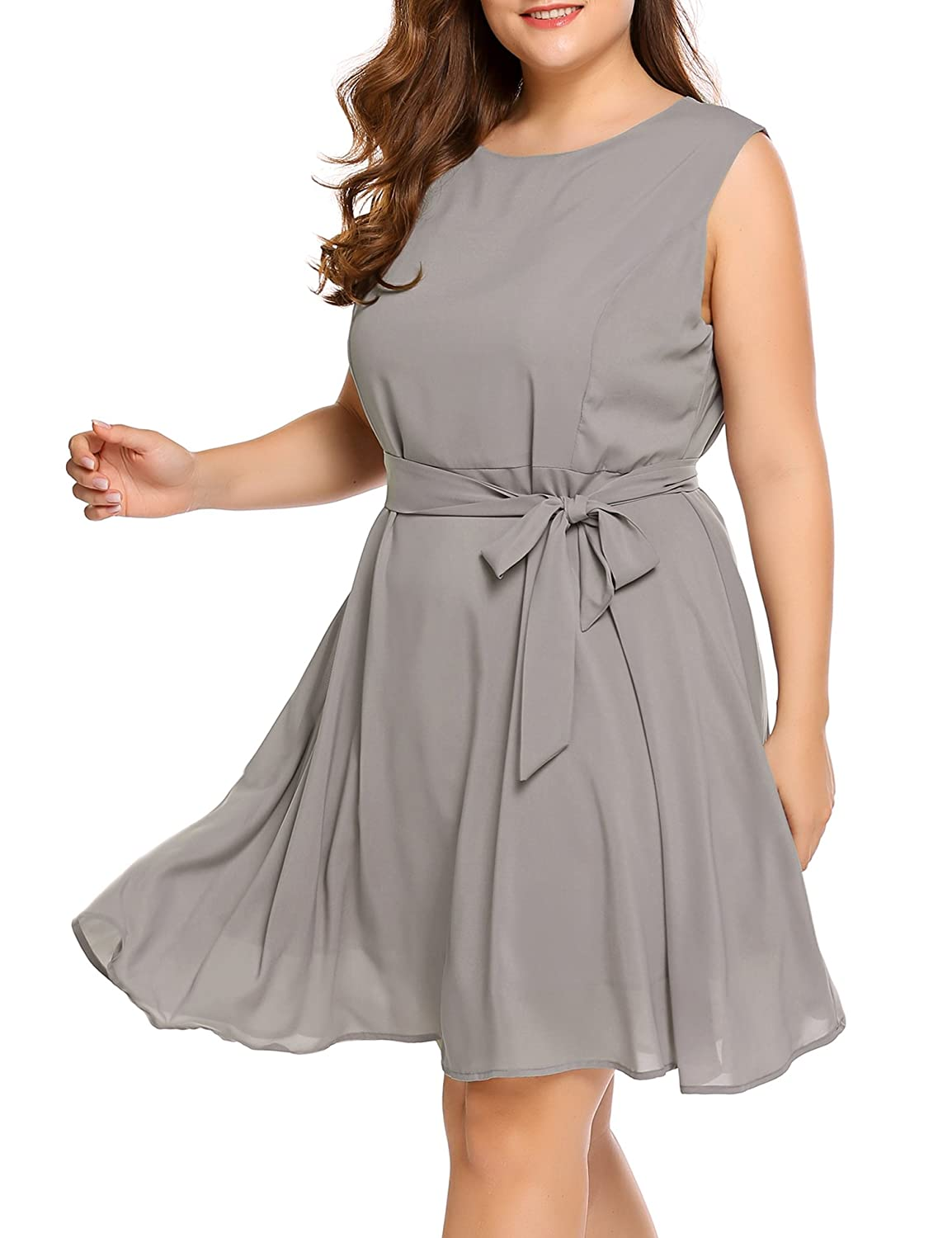 Womens Plus Size Casual Summer Midi Chiffon Dresses Party Cocktail Dress  Ladies A-Line Sleeveless Round Neck Sundress with Belt Grey at Amazon  Women s ... b26919e28