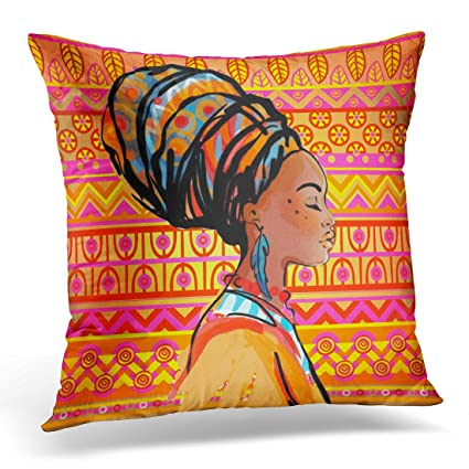 2e3b5beead22 Sdamas Decorative Pillow Cover Black American Portrait of Beautiful African  Woman with Earring Profile View Over