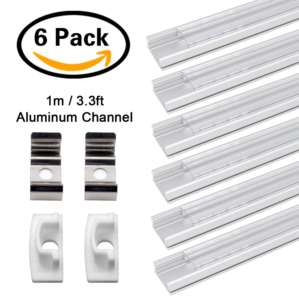 JIRVY 6 Pack 1M/3.3ft LED Aluminum Channel Profile U-Shape Aluminum Extrusion Track W Clear Cover End Caps Metal Mounting Clips for <12mm 5050 3528 LED Flex/Rigid Strip Lights (U shape)