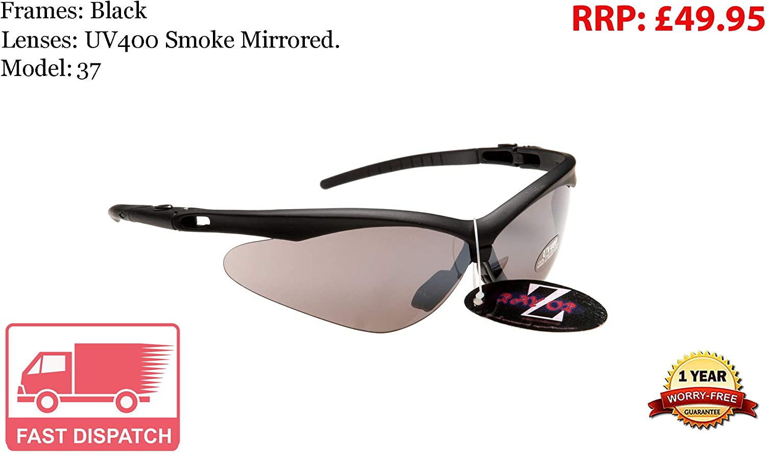 RayZor Uv400 Red Sports Wrap Sunglasses Smoked Mirrored Lens RRP£49 37