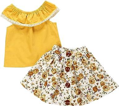 Tianhaik Conjuntos Florales de Niña Pequeña para Niños Conjunto Camisa sin Mangas Amarilla de Verano + Falda Floral para Viajes Informales: Amazon.es: Ropa y accesorios